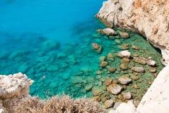 Greece coast. Beautiful coast scene with limestone cliff face in Lefkada, Greece Stock Image