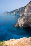 Greece coast. Beautiful coast scene with limestone cliff face in Lefkada, Greece Royalty Free Stock Photos