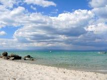 Greece. Coast of the Aegean Sea. Afitos village. Coast of the Aegean Sea. Chalkidiki, Kassandra stock photos