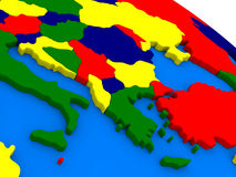 Greece on colorful 3D globe Royalty Free Stock Photo