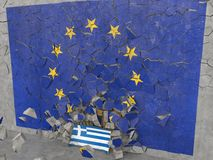 Greece coming out from EU. High quality photo-realistic render Stock Photography