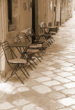 Greece. Corfu island. Corfu town. An open-air cafe. In Sepia ton Royalty Free Stock Images