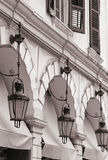 Greece. Corfu (Kerkyra) island. Corfu town. Street lamp. In sepi Stock Photo