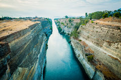 Greece, Corinth, August 2016 The Corinth Canal connects the Gulf of Corinth with the Saronic Gulf in the Aegean Sea. Royalty Free Stock Images