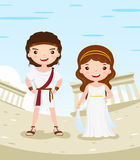 Greece costume cartoon character couple. Greece costume history cartoon character couple in the ancient city - vector illustration Stock Photos