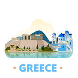 Greece country design template Flat cartoon style