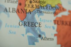 Greece country on paper map. Close up view stock photography