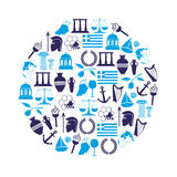 Greece country theme symbols and icons in circle eps10 Stock Photos