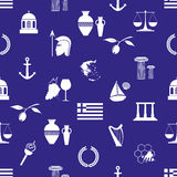 Greece country theme symbols and icons seamless pattern eps10 Stock Photo