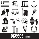Greece country theme symbols and icons set Stock Photos