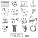 Greece country theme symbols and outline icons set Stock Photography