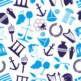 Greece country theme symbols seamless blue pattern Royalty Free Stock Photos