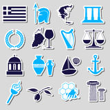 Greece country theme symbols and stickers set eps10 Stock Photos