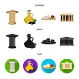 Greece, country, tradition, landmark .Greece set collection icons in cartoon,black,flat style vector symbol stock. Illustration Stock Images