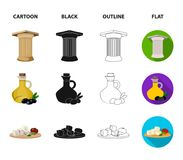Greece, country, tradition, landmark .Greece set collection icons in cartoon,black,outline,flat style vector symbol. Stock illustration Royalty Free Stock Photos