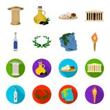 Greece, country, tradition, landmark .Greece set collection icons in cartoon,flat style vector symbol stock illustration.  Royalty Free Stock Photos