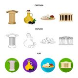 Greece, country, tradition, landmark .Greece set collection icons in cartoon,outline,flat style vector symbol stock. Illustration Stock Photo