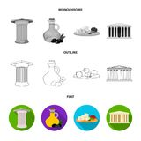 Greece, country, tradition, landmark .Greece set collection icons in flat,outline,monochrome style vector symbol stock. Illustration Stock Image