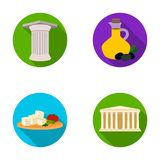 Greece, country, tradition, landmark .Greece set collection icons in flat style vector symbol stock illustration web. Greece, country, tradition, landmark Royalty Free Stock Photos