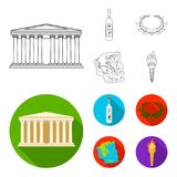 Greece, country, tradition, landmark .Greece set collection icons in outline,flat style vector symbol stock illustration.  Royalty Free Stock Photos