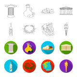 Greece, country, tradition, landmark .Greece set collection icons in outline,flat style vector symbol stock illustration.  Stock Photos