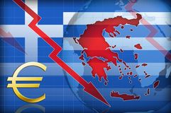 Greece crash. Red blue greece crash concept royalty free illustration