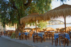 GREECE, CRETE, BALI. Cafe on the waterfront in the village of Bali, Crete Royalty Free Stock Image