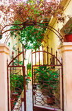 GREECE, CRETE, BALIRETIMNO. A pretty courtyard in the old part of town of Retimno, Crete, Greece Stock Images