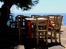 Greece. Crete. Ierapetra. Tables over a cliff Royalty Free Stock Image