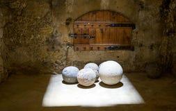 Greece. Crete, Iraklio, stone cannon balls inside the Venetian fortress called Rocca al Mare Royalty Free Stock Image