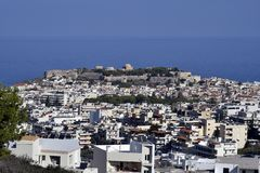 Greece, Crete Island, city of Rethymno. With impressive fortress on Mediterranean sea stock photography