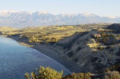 Greece, Crete. Kommos beach and snowy Ida range Stock Photo