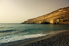 Greece. Crete. Matala. Beach. Royalty Free Stock Images