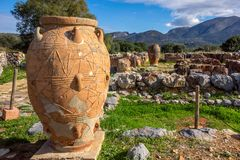 Greece. Crete. Minoy pithos. Minoy pithos in front of ruins royalty free stock images
