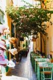 GREECE, CRETE, RETIMNO. Outdoor restaurant in old city part of Retimno, Crete, Greece Royalty Free Stock Image