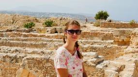 GREECE, CRETE, RETIMNO. Young beautiful girl, Retimno castle in Crete Stock Photography