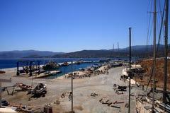 Greece. Crete. Sitia. Shipyard marina and yacht harbor. Royalty Free Stock Photo