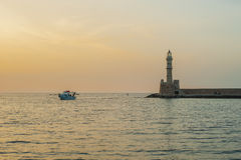 Greece, Crete, sunset in Chania Xania evening light to city. B Royalty Free Stock Image