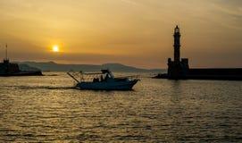Greece, Crete, sunset in Chania Xania evening light to city. B Stock Image