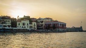 Greece, Crete, sunset in Chania Xania evening light to city ha Stock Image