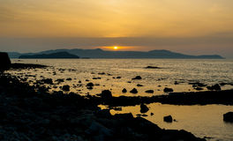 Greece, Crete, sunset in Chania Xania evening light to city ha Stock Images