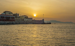 Greece, Crete, sunset in Chania Xania evening light to city ha Stock Photos