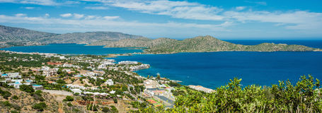 Greece Crete, turquoise bay panorama from top of hill Royalty Free Stock Photo