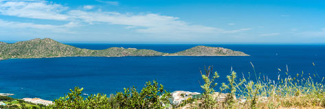 Greece Crete, turquoise bay panorama from top of hill Royalty Free Stock Image