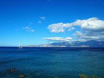 Greece, Crete - a view of the gulf of Mirabello. Blue Mediterranean sea on a hot summer day stock images