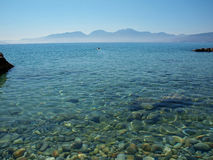 Greece, Crete - a view of the Gulf of Mirabello. Clear Mediterranean sea on a hot summer day stock image