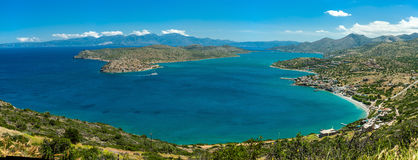 Greece Crete,view to Spinalonga island,  turquoise water panoram Royalty Free Stock Photography