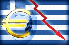 Greece crisis. Greece flag and euro sign crisis red arrow Stock Photos