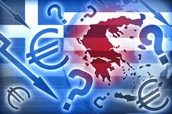 Greece crisis. Blue red backgroud Royalty Free Stock Image