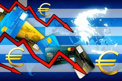 Greece crisis concept background - red arrows euro currency credit cards. Illustration stock illustration